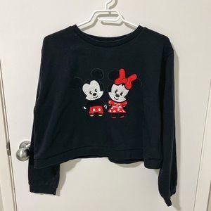 Disney Mickey & Minnie Mouse Crop Sweatshirt Black